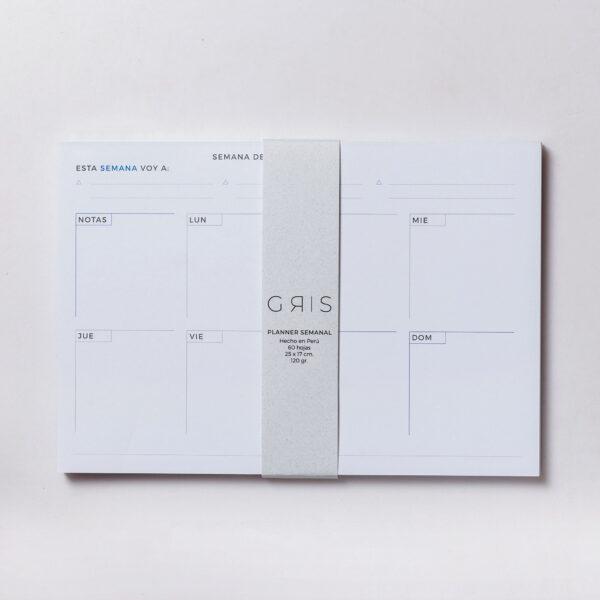 Imagen de producto de planner de papel blanco con detalles azules